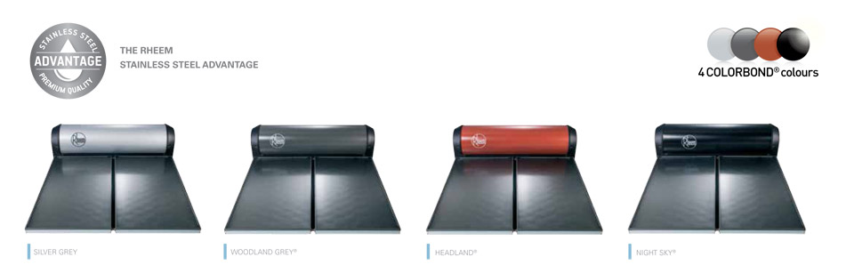 rheem solar water heatr colorbond colour range